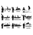 water sea recreational vehicles and people set vector image vector image