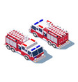 3d isometric fire truck for fire extinguishing vector image vector image