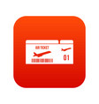 airline boarding pass icon digital red vector image vector image
