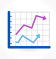 Arrow growing upward on graph vector image vector image