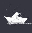 astronaut travel on paper boat vector image vector image