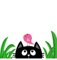 black cat face head silhouette looking up to bird vector image vector image