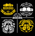 boxing club labels emblems badges set boxing vector image
