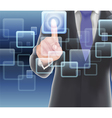 Businessman of visual touch screen vector image vector image