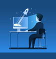 businessman standing desk with a laptop a vector image