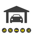 car garage icon on white background vector image vector image