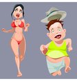 cartoon man and woman in a bathing suit running vector image vector image