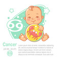 children horoscope icon kids zodiac cancer vector image