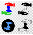 customer care hands eps icon with contour vector image vector image