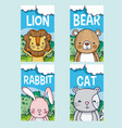 cute animals cartoon cards vector image