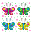 Cute cartoon butterflies and flowers vector image vector image