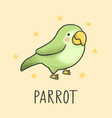 cute parrot cartoon hand drawn style vector image