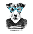 dressed up dog in hipter style vector image vector image