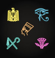 egypt icons set in neon line style vector image