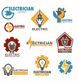 electrician service and electric sockets with vector image vector image