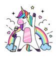 fantasy singing animal horse unicorn vector image vector image