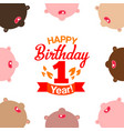 first happy birthday and faces around vector image vector image