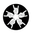 Five rock hands abstract symbol black and white vector image vector image