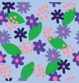 flat colour blue flowers seamless pattern vector image vector image