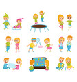 flat set with cute little boy and girl in vector image vector image