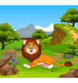 funny lion cartoon in the jungle vector image vector image