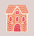 gingerbread house isolated on light background vector image vector image