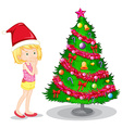 Girl and christmas tree vector image vector image