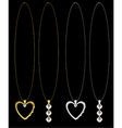 Gold and silver heart and diamond necklaces vector image vector image