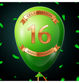 Green balloon with golden inscription sixteen vector image vector image