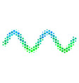 halftone blue-green sinusoid wave icon vector image vector image