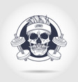 hand drawn sketch angry sport skull vector image vector image