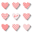 heart icons set for valentines vector image vector image