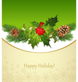 holiday background tree pine cones holly and the f vector image vector image