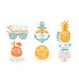hot summer sale labels set enjoy vacation hello vector image vector image