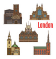 london travel landmark of british church icon set vector image vector image