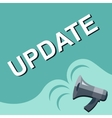 Megaphone with UPDATE announcement Flat style vector image vector image