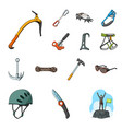 mountaineering and climbing cartoon icons in set