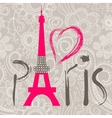 paris word and heart vector image vector image