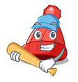 playing baseball character winter beanie with pom vector image