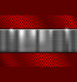red perforated metal texture with brushed steel vector image
