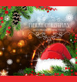 santa hat with sparkles and fir branches vector image