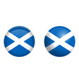 scotland flag under 3d dome button and on glossy vector image