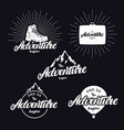 set adventure begins hand written lettering vector image vector image