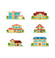 set modern cottage house front view isolated vector image vector image