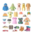 set of baby clothes in flat style Children vector image