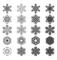 set of black and white snowflakes vector image