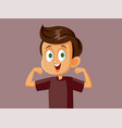 strong boy feeling healthy and energetic vector image