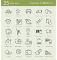 thin line icons for shipping and delivery vector image