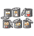 Trashcan with facial expressions vector image vector image