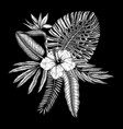 tropical flowers composition vintage bouquet of vector image